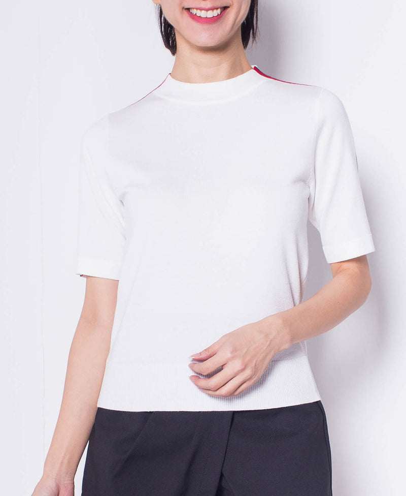 Women  Short Sleeve Knit Top - White - H0W932