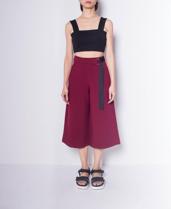 Women Culotte Pants - Dark Red