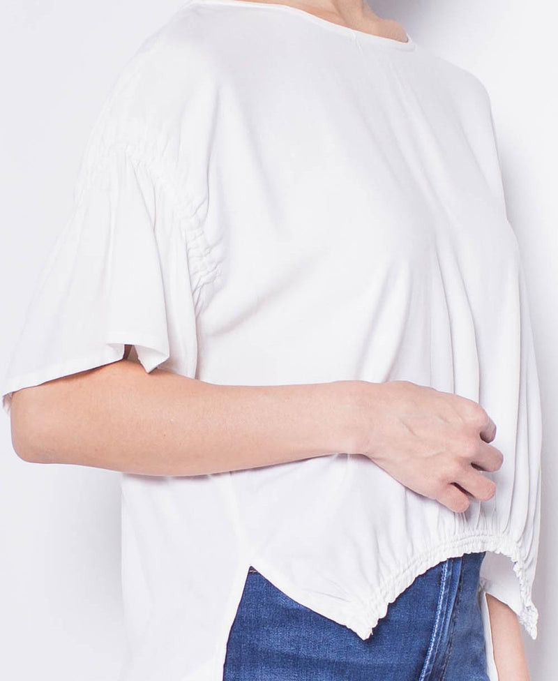 Women Short Sleeve Blouse - White - H9W306