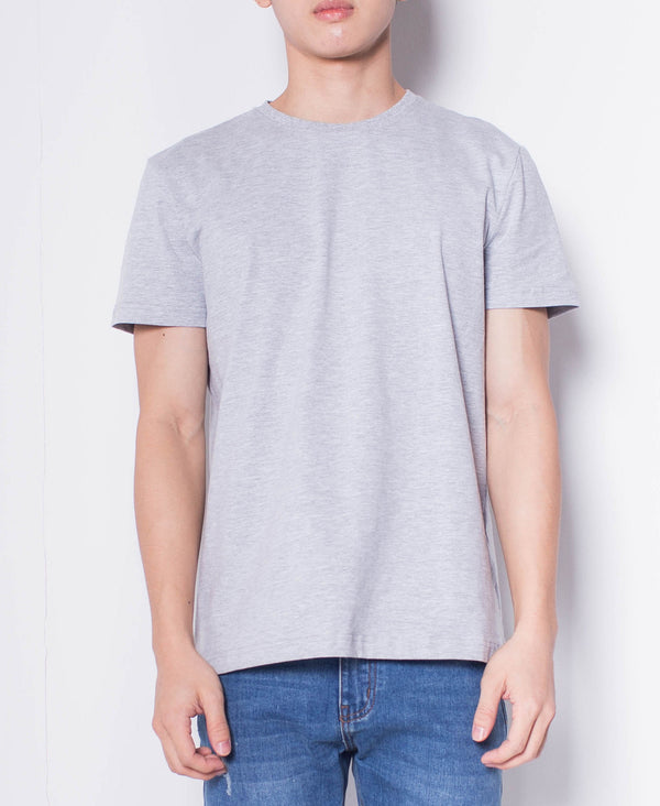 Men Short Sleeve Basic Round Tee - Grey