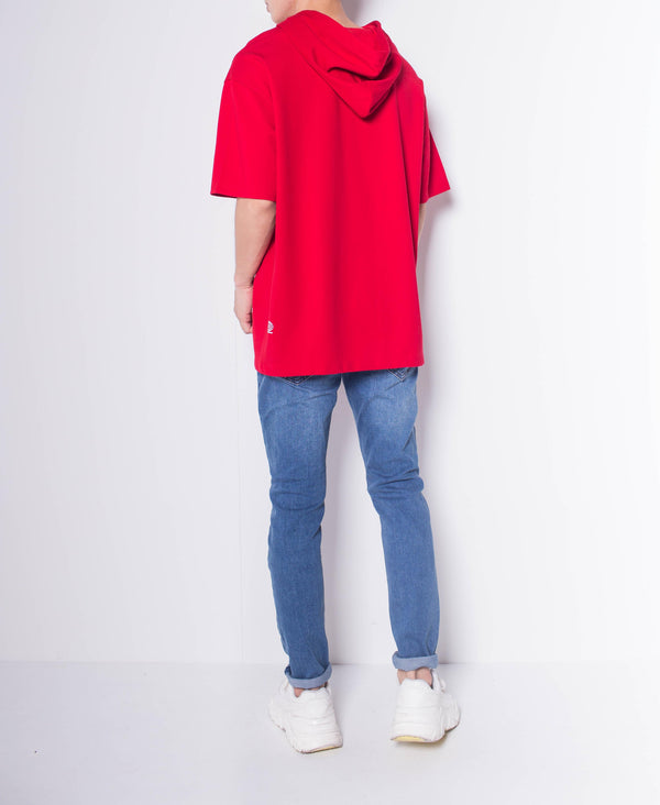 Men Oversized Short Sleeve Sweatshirt Hoodie - Red
