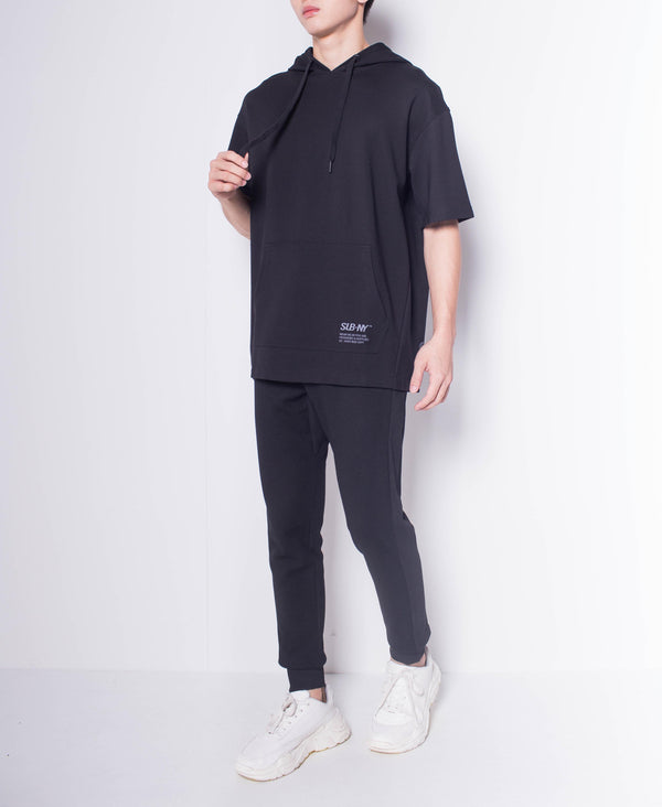 Men Oversized Short Sleeve Sweatshirt Hoodie - Black