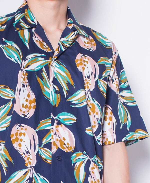 Men Short-Sleeve Camp Collar Printed Cotton-Voile Shirt - Navy