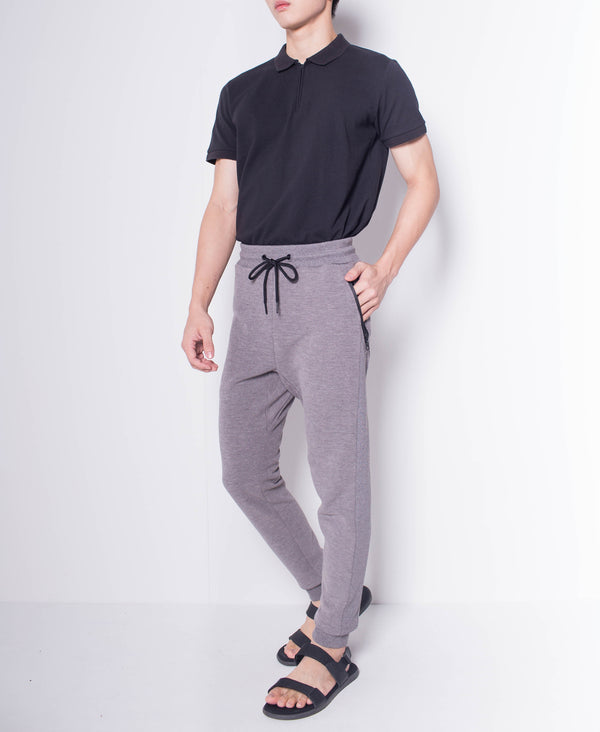 Men Knit Long Jogger - Grey