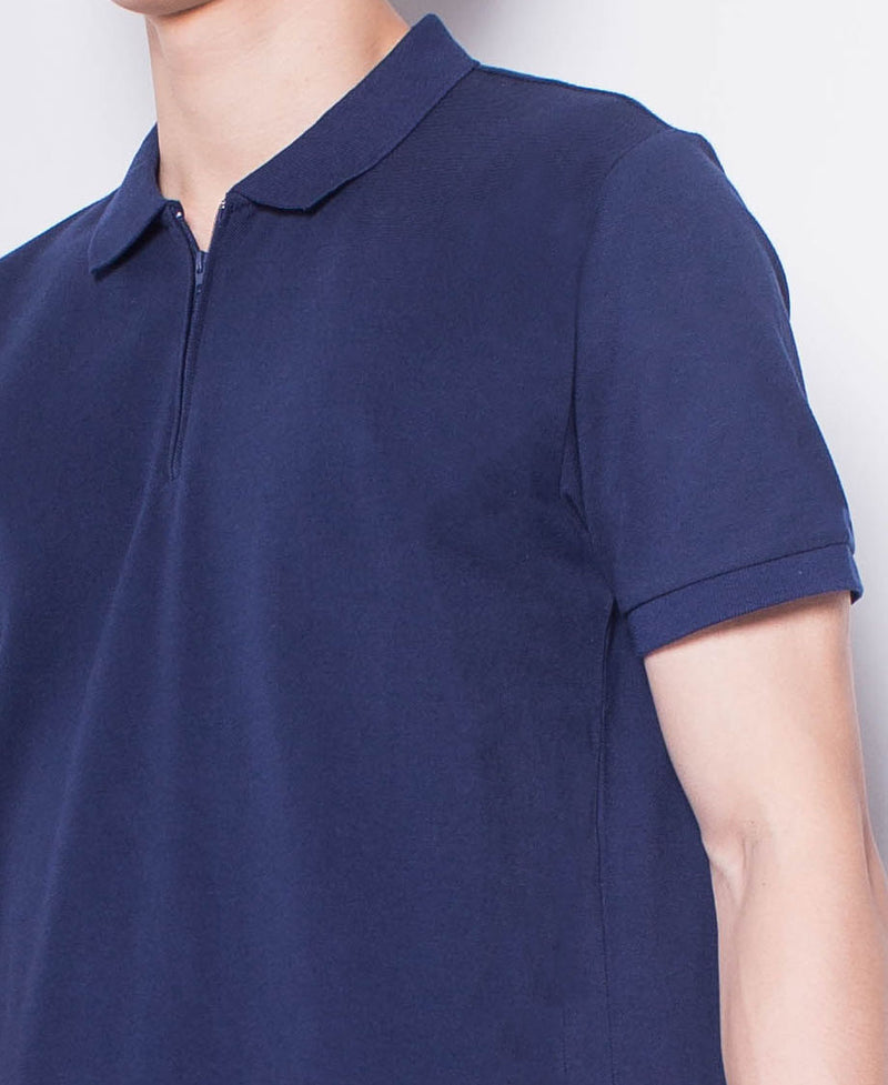 Men Short-Sleeve Zip Polo Shirt - Navy