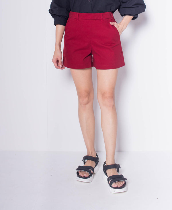 Women Short Pant - Dark Red