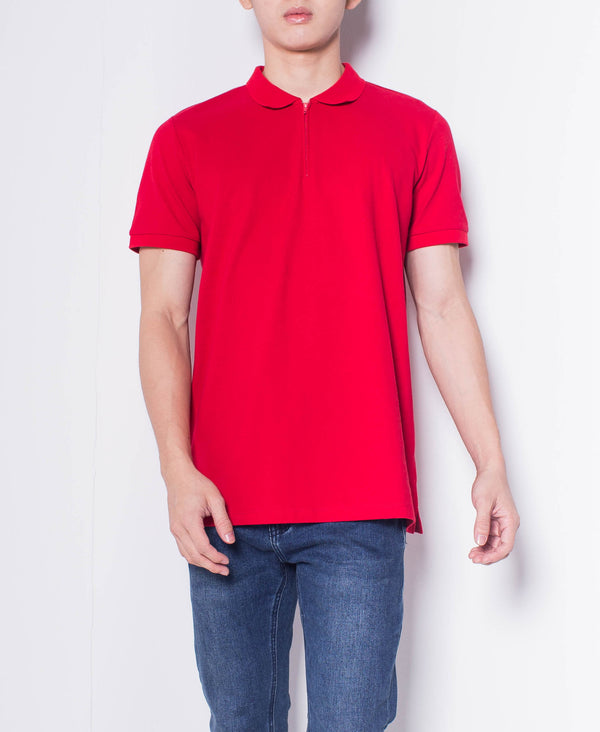 Men Short-Sleeve Zip Polo Shirt - Red