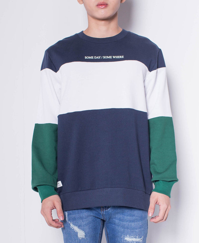 Men Color Block Sweatshirt - Navy - H0M505