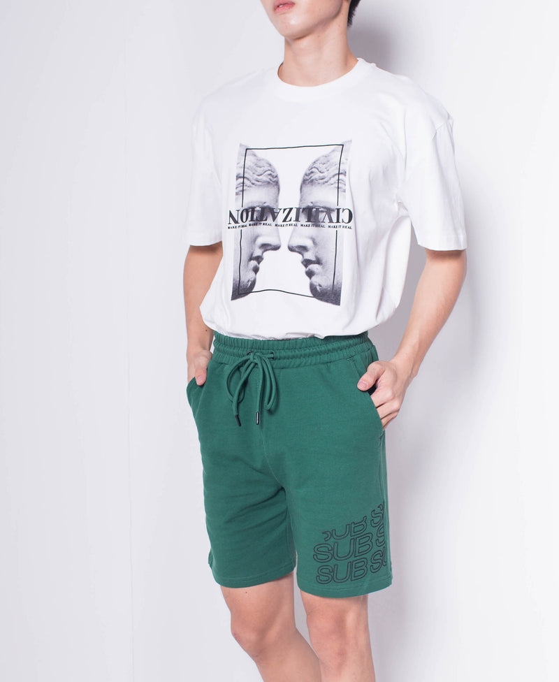 Men Knit Short Jogger - Green