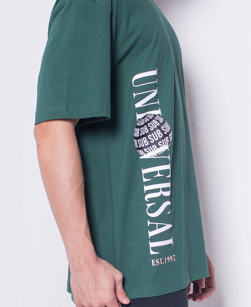 Men Short Sleeve Oversized Graphic Tee - Green - H0M546
