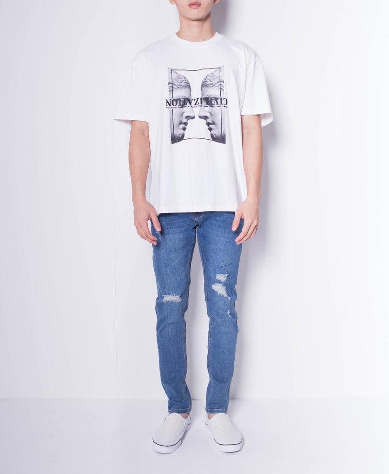 Men Short Sleeve Oversized Graphic Tee - White