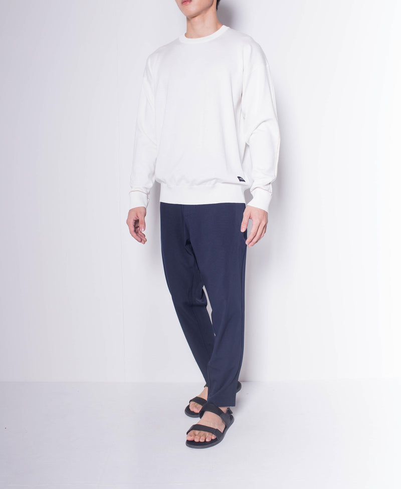 Men Round Neck Long Sleeve Knitwear - White - H0M640