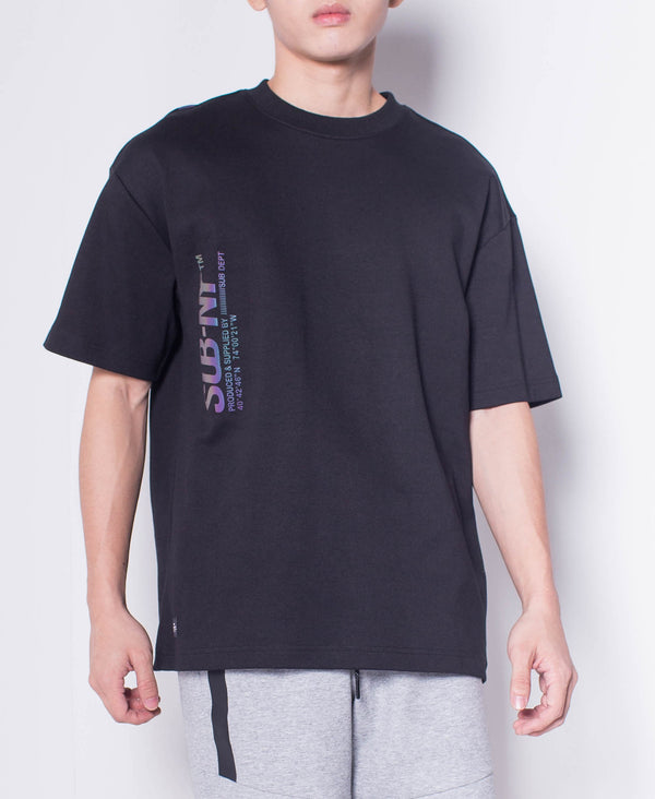 Men Short Sleeve Oversized Fashion Tee With Reflective Print - Black