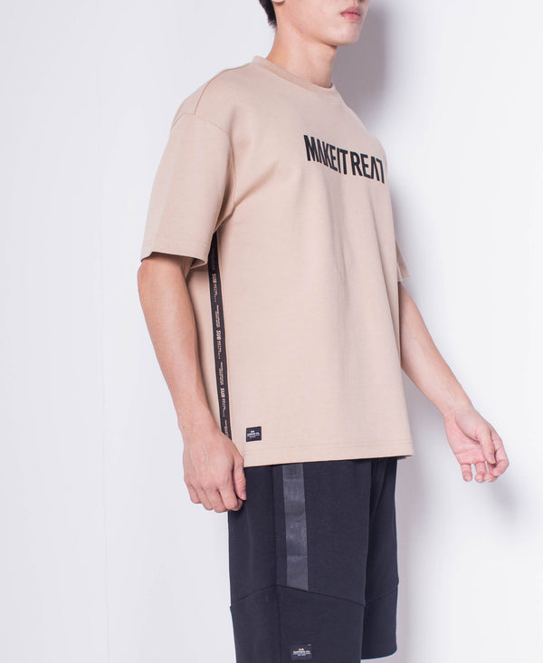 Men Short Sleeve Oversized  Fashion Tee - Khaki