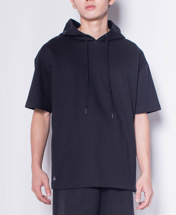 Men Short Sleeve Oversized Sweatshirt Hoodie With Reflective Prints - Black