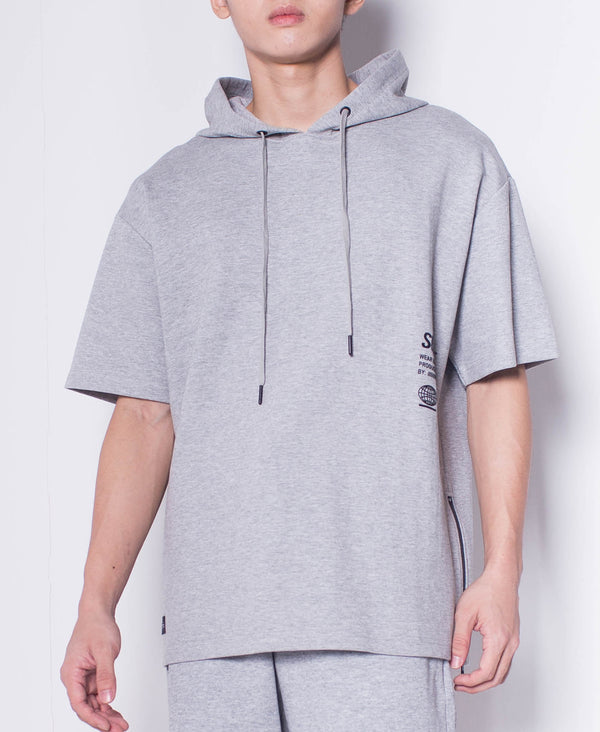 Men Short Sleeve Oversized Sweatshirt Hoodie - Grey