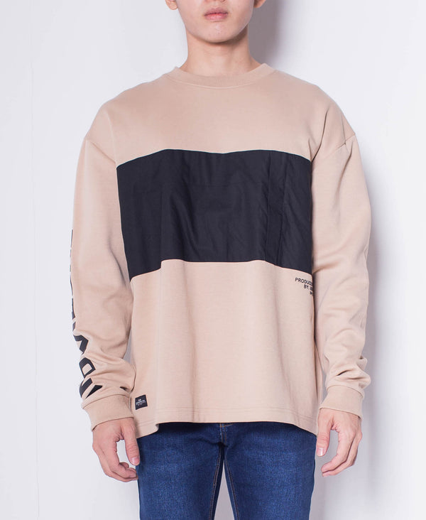 Men Color Block Sweatshirt - Khaki