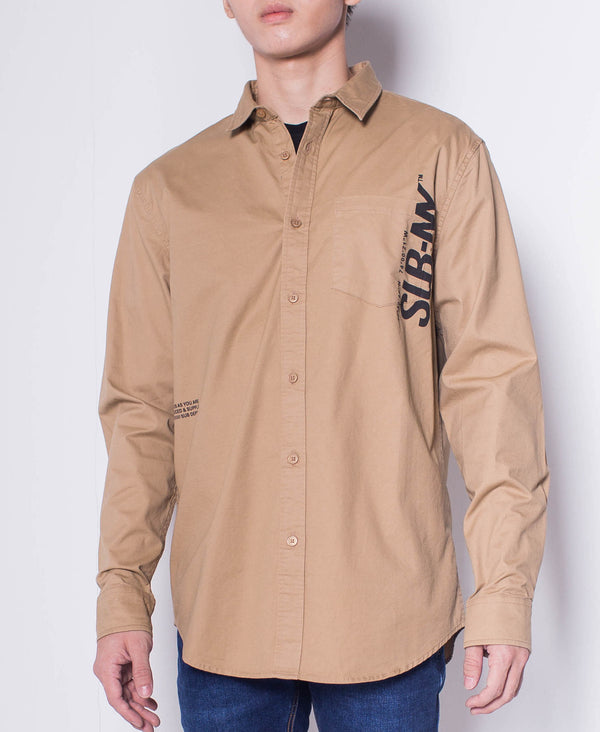 Men Long Sleeve Shirt With Slogan - Khaki