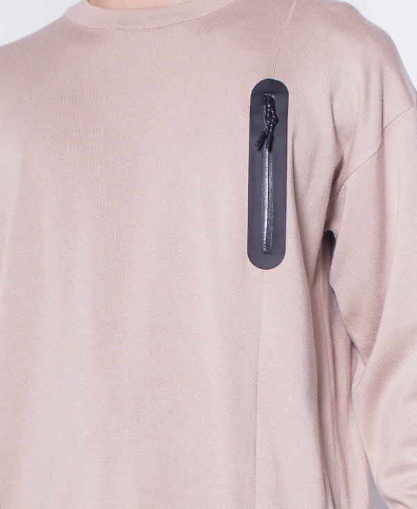 Men Round Neck Long Sleeve Sweater With Zipper Pocket - Khaki