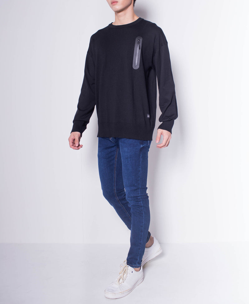 Men Round Neck Long Sleeve Sweater With Zipper Pocket - Black