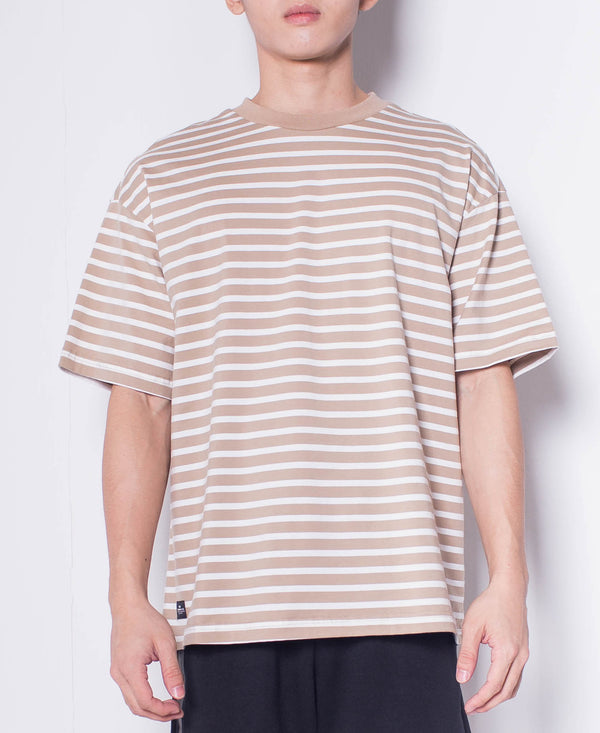 Men Short Sleeve Oversized  Striped Tee - Khaki