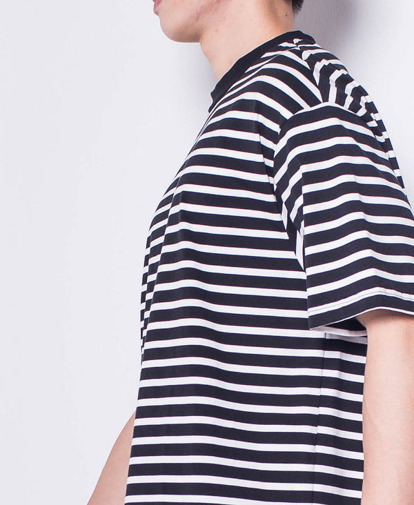 Men Short-Sleeve Striped Tee - Black