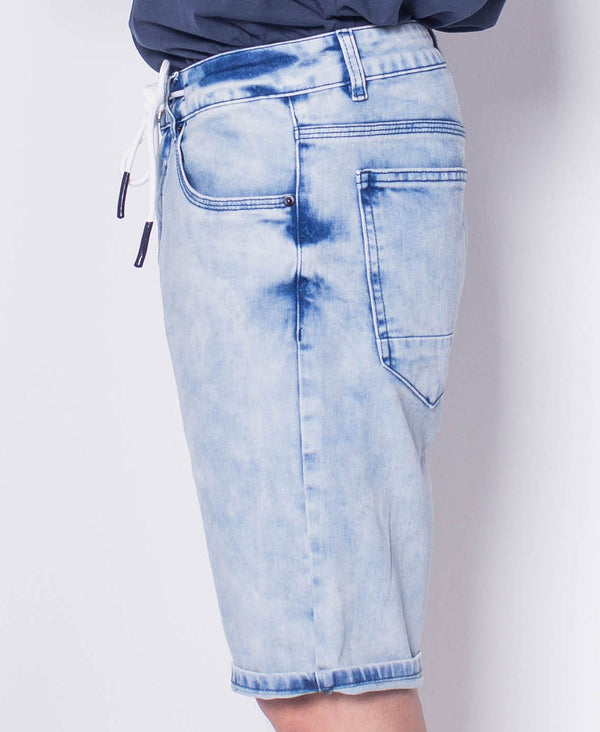 Men Drawstring Short Jeans - Blue