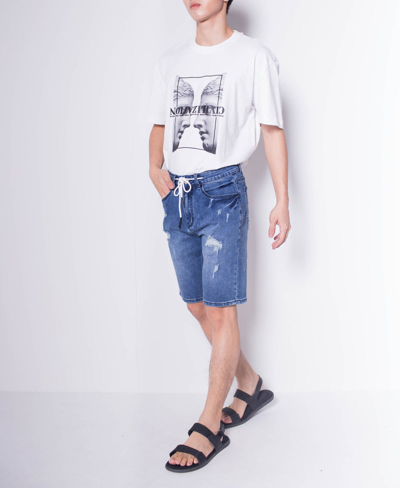 Men Drawstring Short Jeans - Dark Blue