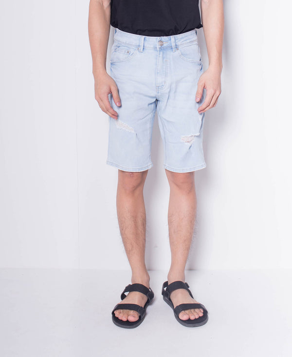Men Ripped Short Jeans - Light Blue