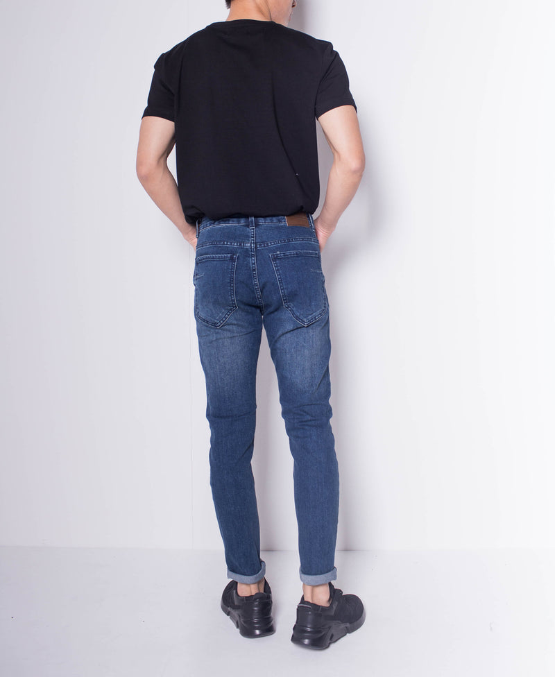 Men Skinny Ripped Long Jeans - Dark Blue - H0M705