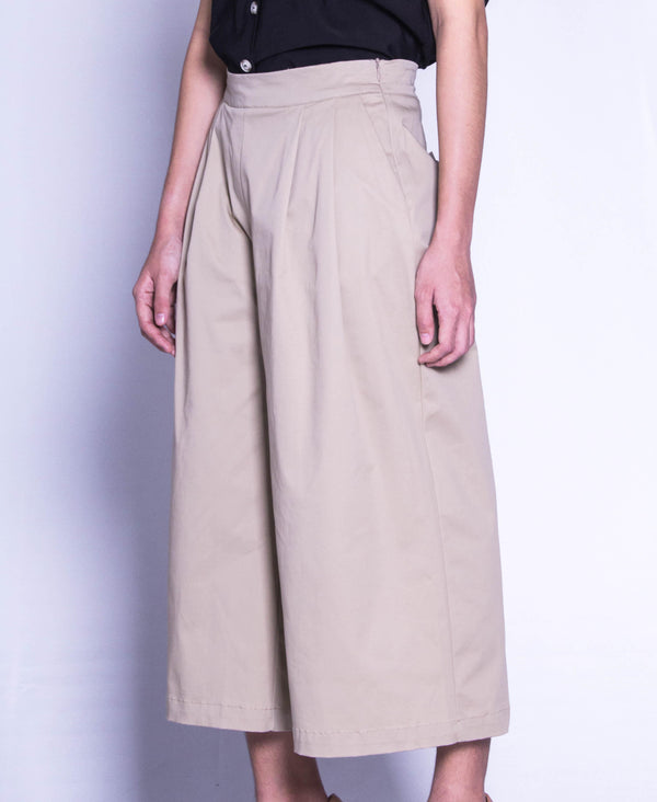 Women Wide Leg Long Pants  - Khaki