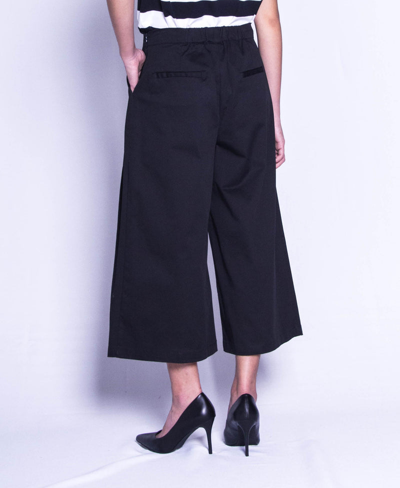 Women Wide Leg Long Pants  - Black