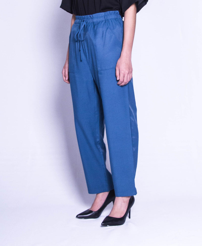 Women Wide Leg Long Pants  - Blue