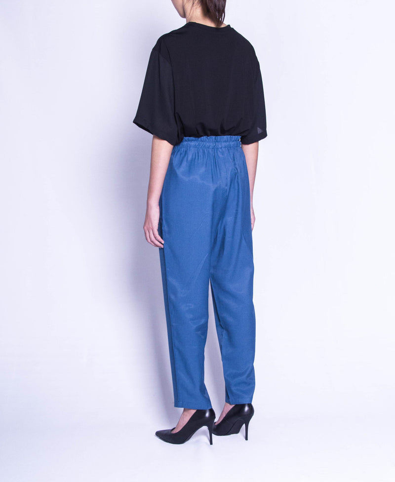 Women Wide Leg Long Pants  - Blue - F9W130