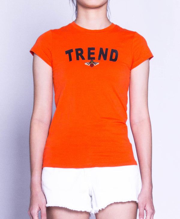 Women Short Sleeve Graphic Tee - Orange
