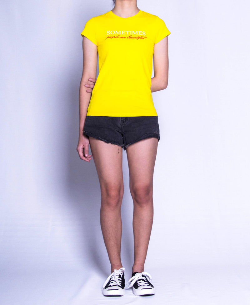 Women Short Sleeve Graphic Tee - Yellow