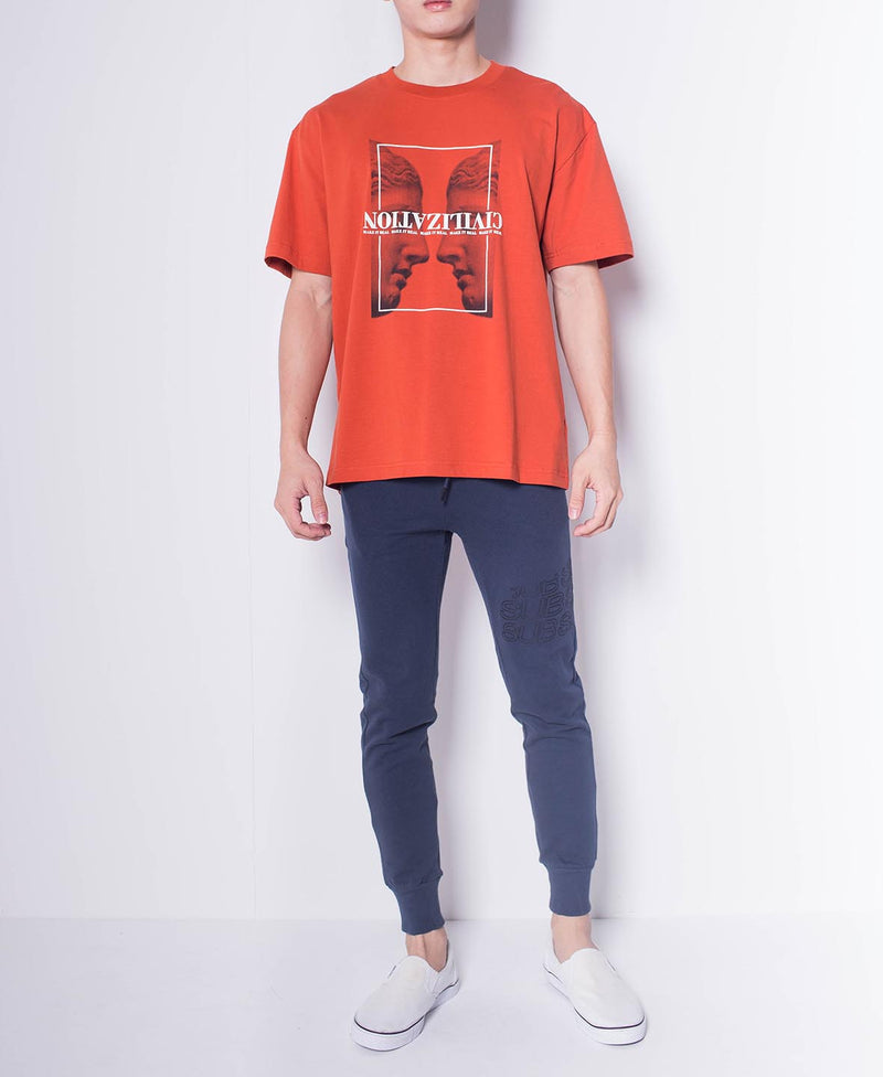 Men Short Sleeve Oversized Graphic Tee - Orange - H0M549