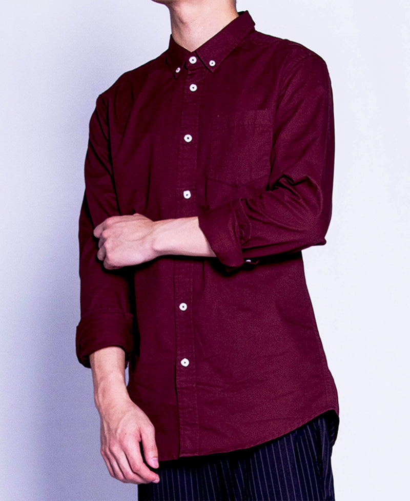 Men Long Sleeve Shirt - Maroon - F9M085