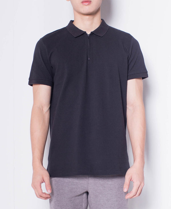 Men Short-Sleeve Zip Polo Shirt - Black