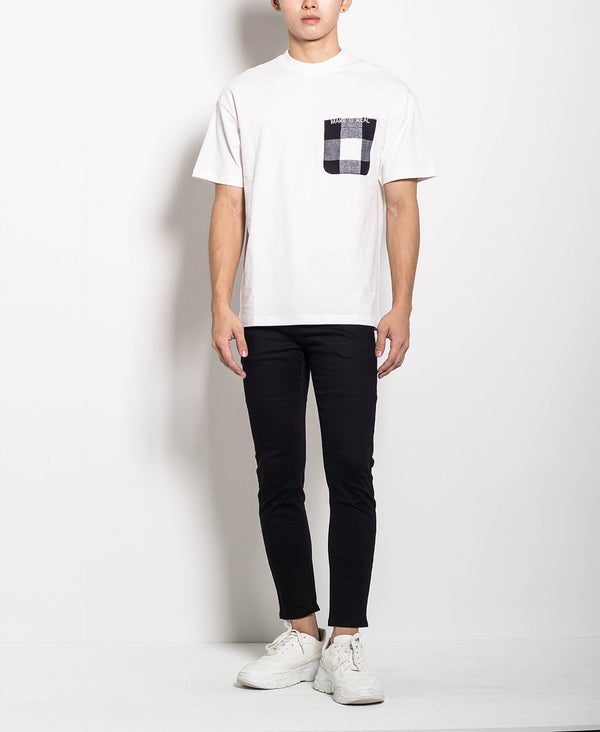 Men Oversized Fashion Tee With Check Pocket - White