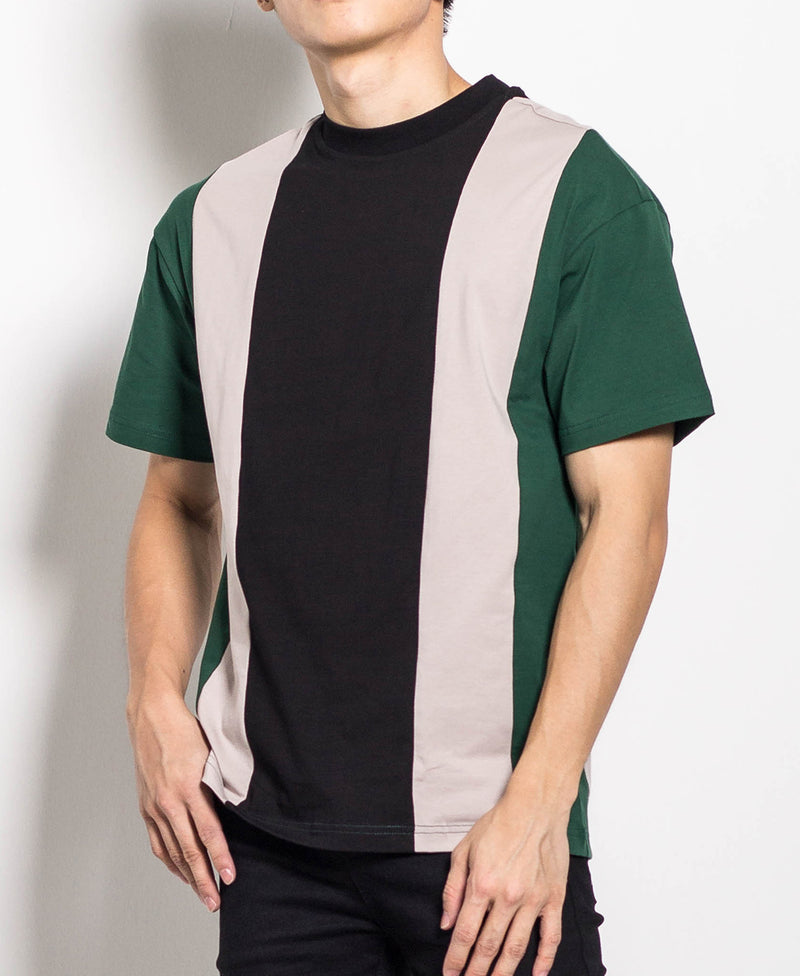 Men Stripe Fashion Tee - Black