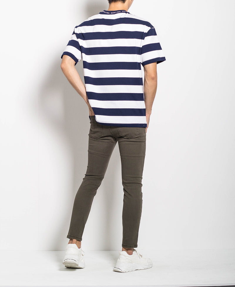 Men Oversized Stripe Tee - Navy - M0M456
