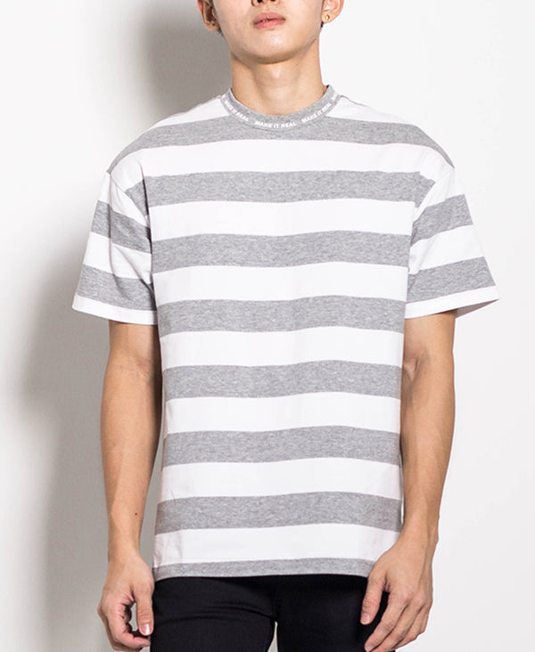 Men Oversized Stripe Tee - Grey