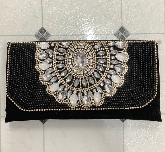 Adorne Avd-0719 Blk crystal clutch - Emelda's Shoes