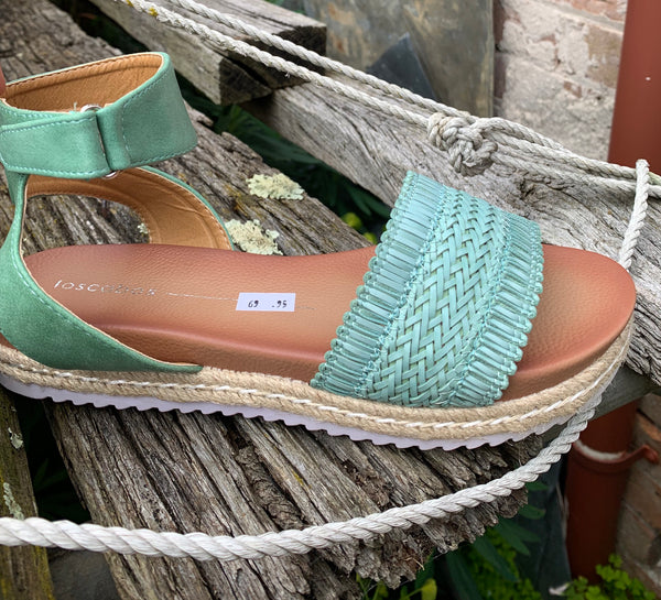 Los Cabos Tin Sage Sandal - Emelda's Shoes