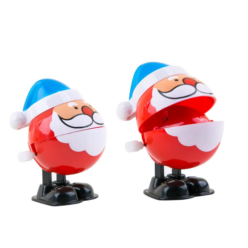 PROLOSO 12 Pack Wind up Toys Clockwork Christmas Santa Hopping Chattering Playset