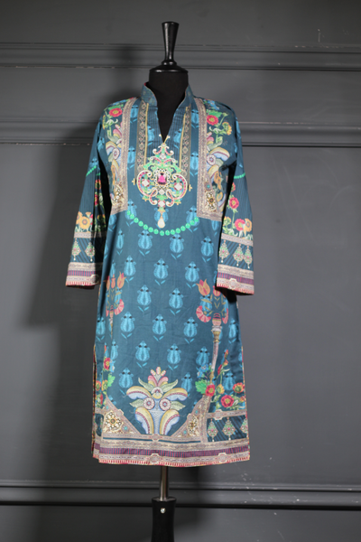 Neon Accents with Blue Printed Lawn (RG-PS-001) - Ready To Wear Kurta - leftover.pk
