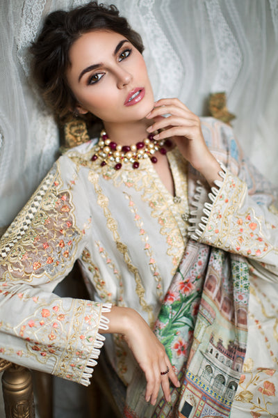 Ivory Designer Embroidered Lawn Shirt (Without Sleeves) - FRONT (1.25 mtr) - leftover.pk