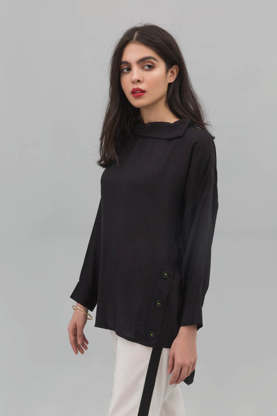 Black Cowl Neck Fusion Shirt In Blended Linen - leftover.pk