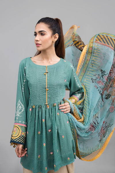 MINT TANGERINE Slub Lawn With Embroidered Shirt Pure Chiffon Dupatta Ready To Wear - leftover.pk